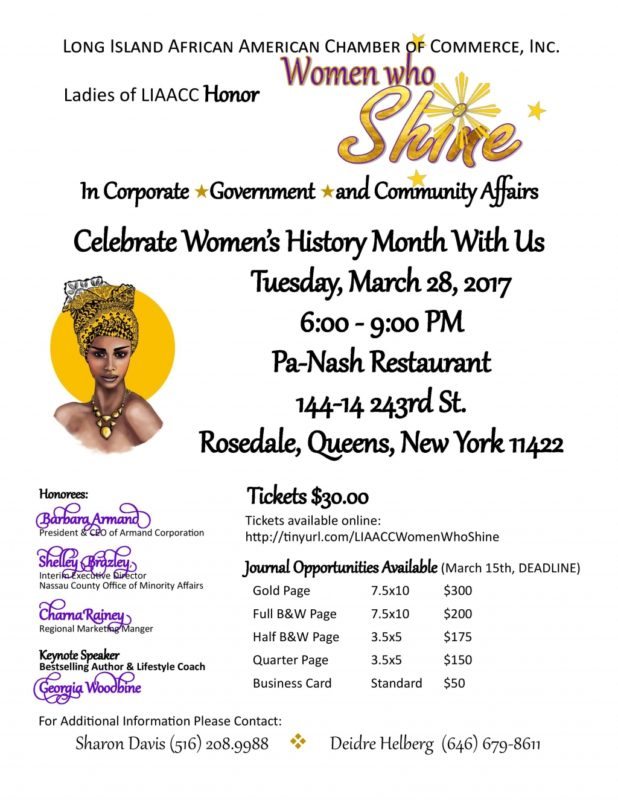 Ladies of LIAACC Set to Honor Women Who Shine Celebrating Women's History Month Tuesday, March 28, 2017 at Pa-Nash Restaurant in Queens, New York